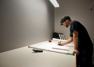 Chris sketching out blueprint